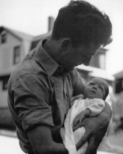 """My Father and I (about 2 months old), proving that the world really was only in black and white when I was born."""